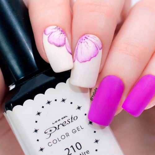 Matte Hot Pink Nails With Flowers #mattenails #pinknails