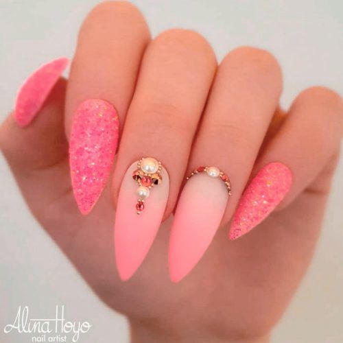 Matte Pink Gradient With Rhinestones #ombrenails #mattenails #rhinestonesnails