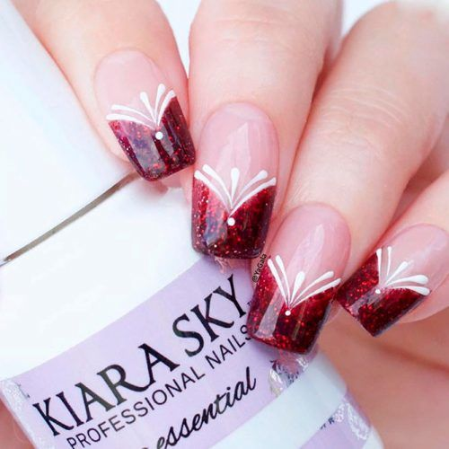 Triangular French Tips #rednails #frenchnails