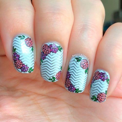 Silver Chevron With Roses #flowersnails #chevronnails