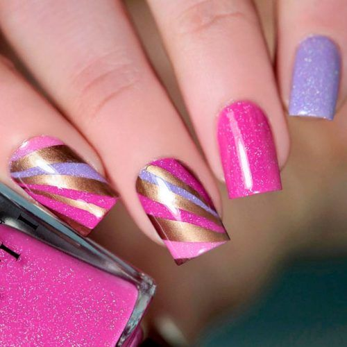 Bright Abstracted Geometric Pattern #sparklynails #geometricnails