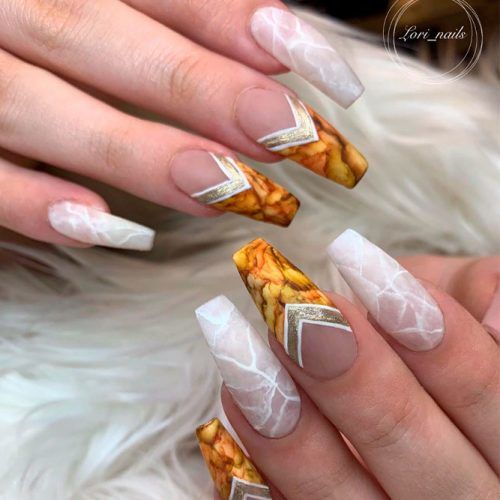 Triangle Marble Nail Designs #marblenails #coffinnails