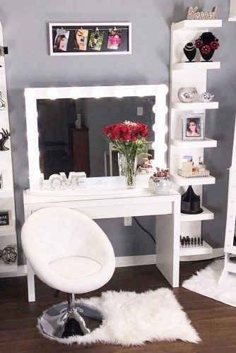 Modern Dressing Table Set With Glam Chair Design #whitechair