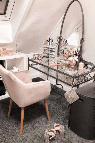 Glass Makeup Vanity Table With Large Oval Mirror #pinkchair