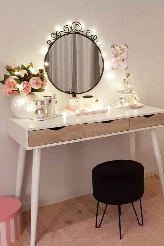 Minimalistic Vanity Table Design #flowers #lights