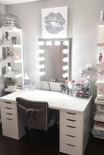 Minimalist Vanity Table With Space Storage And Classy Chair #wallpicture