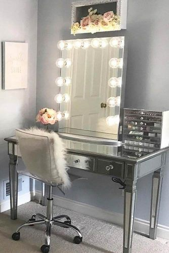 Glossy Makeup Vanity Table Set With Roller Chair #plasticchair