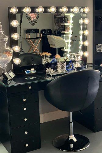 Black Makeup Table With Lights, Black Vanity Set With Light Up Mirror
