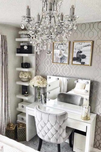 Modern Vanity Table Design With Gray Comfy Chair #graycolors