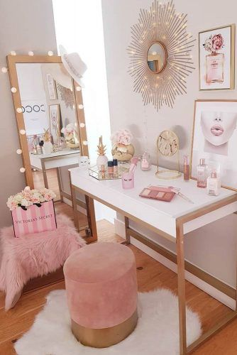 Modern White Makeup Table Design With Light Mirror #pinkroom