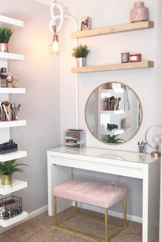 Simple Makeup Vanity Table #simpledesign #roundmirror