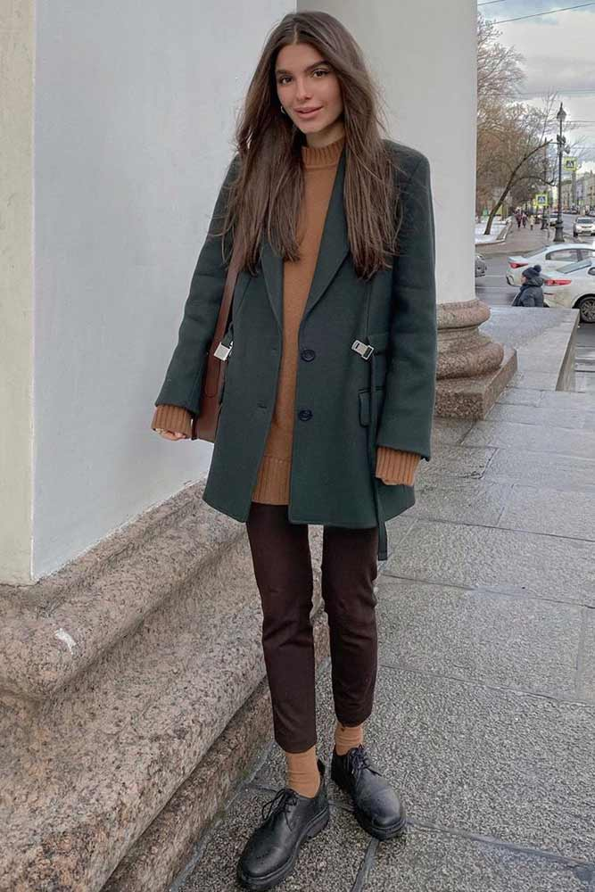 Coat With Pants Casual Outfit #sweater #coat