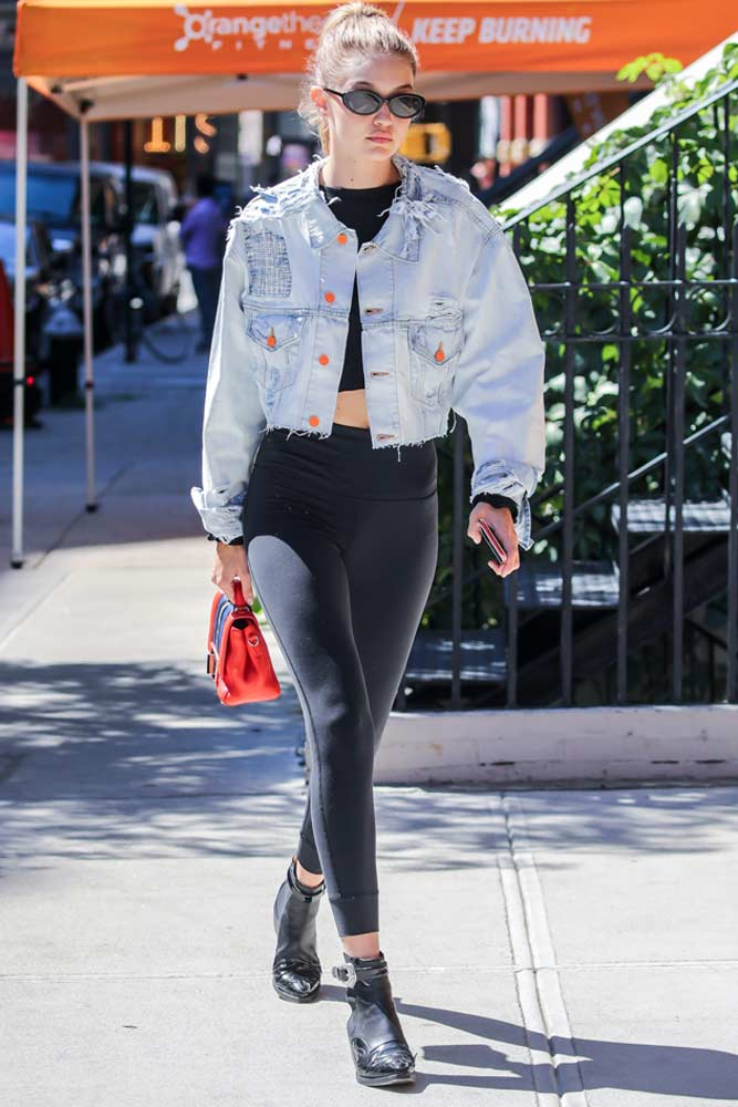 Denim Jacket With Leggings Outfit #gigihadid #denimjacket