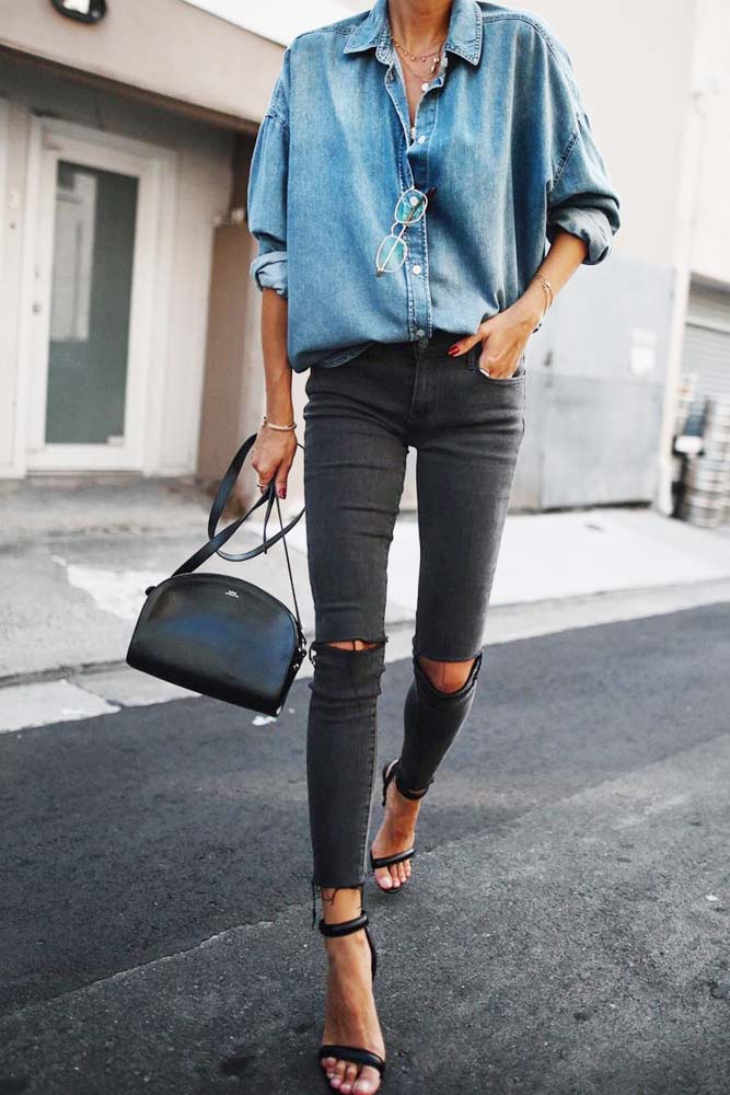 Casual Outfit Idea With A Denim Shirt #denimshirt #blackjeans