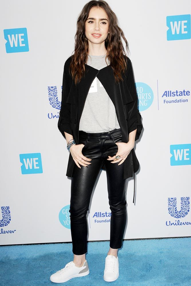 Casual Outfit With Black Leather Leggings And Cardigan #lilycollins #celebritystyle