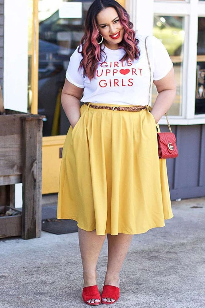 Plus Size Casual Outfits #plussize #skirt