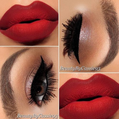 Cute Red Lipstick Makeup Ideas picture 1