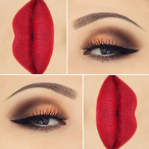Cute Red Lipstick Makeup Ideas picture 5