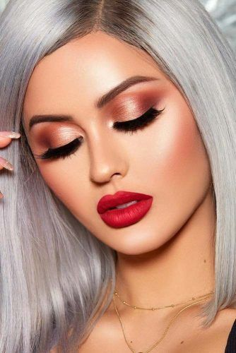 Shimmer Soft Shadow With Red Lipstick #shimmershadow