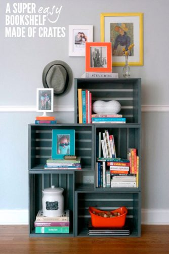 Stylish Bookshelf Made of Crates picture 1