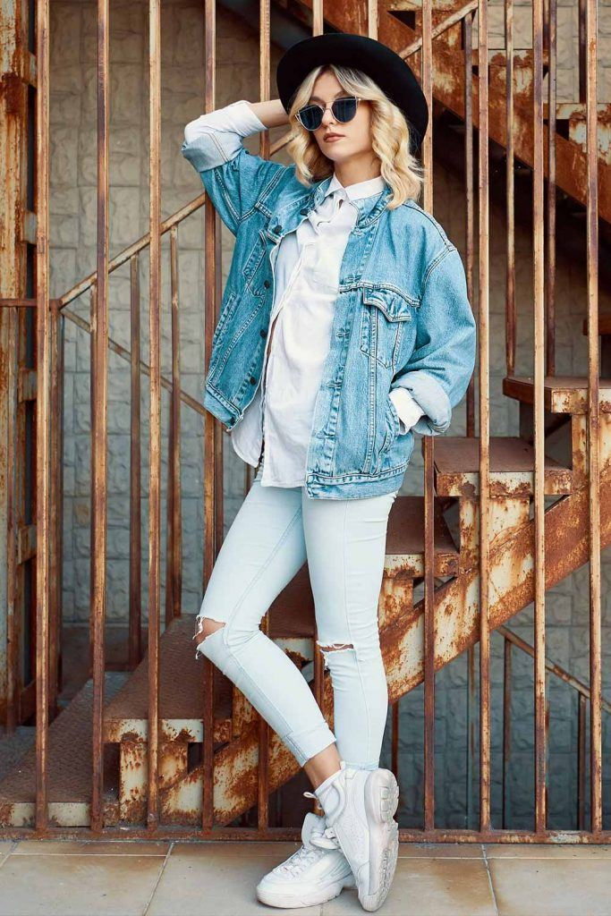 Ripped Jeans with Denim Jacket