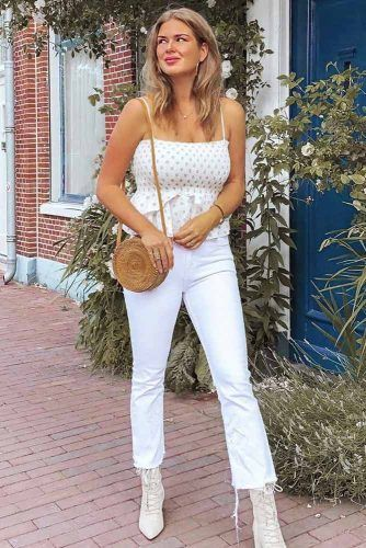 White Polka Dots With Jeans #croppedjeans