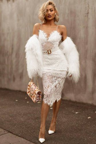 Date Night All White Outfit Idea #lacedress