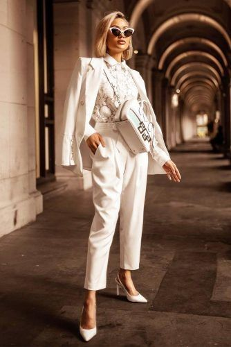 Classy All White Outfit Idea #powersuit