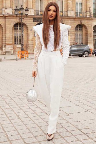 All White Outfit With Trousers #lacetop