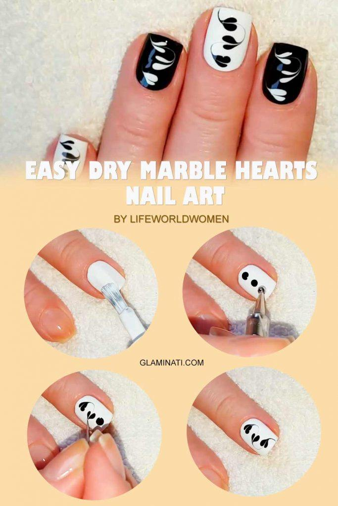 Easy Dry Marble Hearts #easynailart #naildesigns