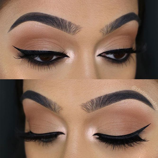 Matte Nude Eyeshadow With Black Eyeliner #classyeyeliner