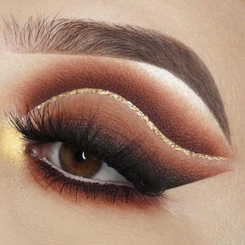 Brown Cut Crease Idea With Glitter Eyeliner #matteshadow