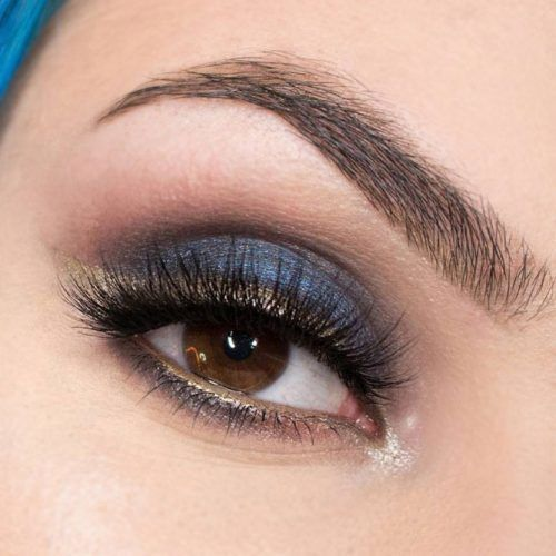 Deep Blue Eyeshadow For Brown Eyes #goldeyeliner