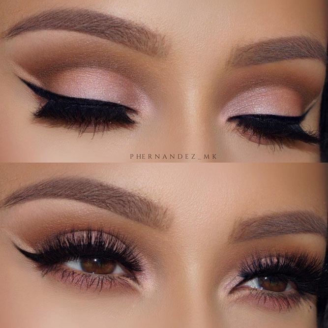 Pink Cut Crease With Eyeliner #eyeliner