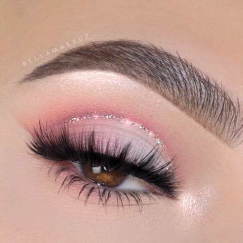 Pink Shadows With Glitter Eyeliner For Brown Eyes #glitterline