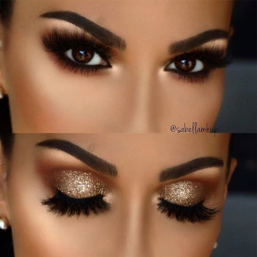 Gold Glitter Shadow For Smokey Eyes #goldglitter