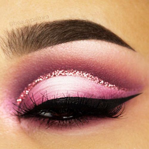 Pink Cut Crease With Glitter Eyeliner #cutcrease