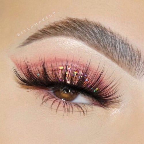 Pink Glitter Shadow For Brown Eyes Makeup #pinkglittershadow
