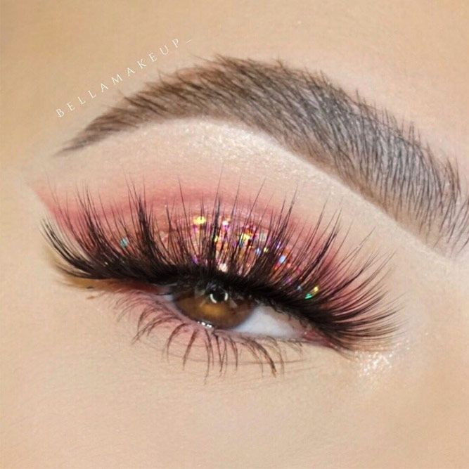 Pink Glitter Shadow For Brown Eyes Makeup #pinkglittershadow