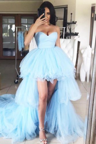 Asymetrical Tulle Prom Dress Design #bluepromdress #tulledress