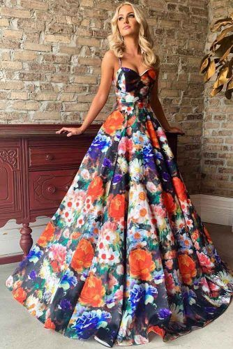 A-line Prom Dress With Floral Print #floralprintdress