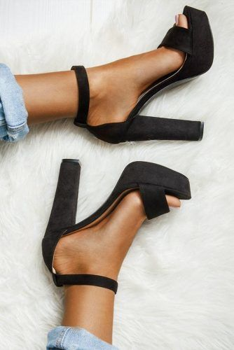 Black Ankle Strap Open Toe Shoes For Prom #promheels #blackheels #promshoes