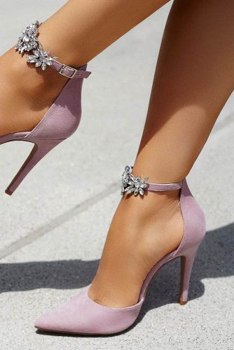 Light Purple Prom Shoes With Rhinestones