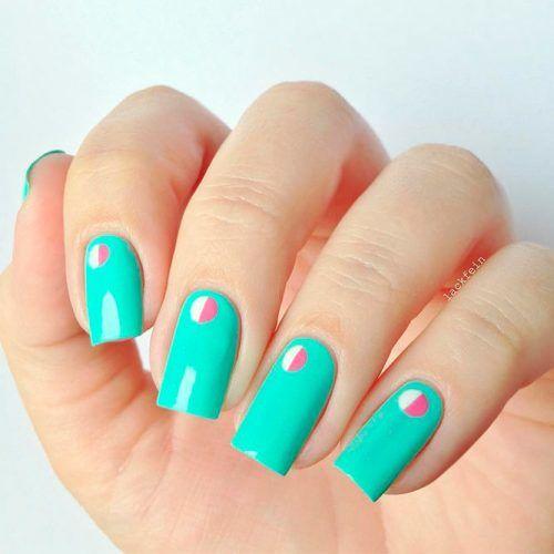 Minimalistic Spring Nail Art #minimalisticnailsdesigns #turquoisenails #squarenails