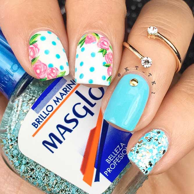 Spring Flowers For Spring Nails #flowersnails #dotsnails