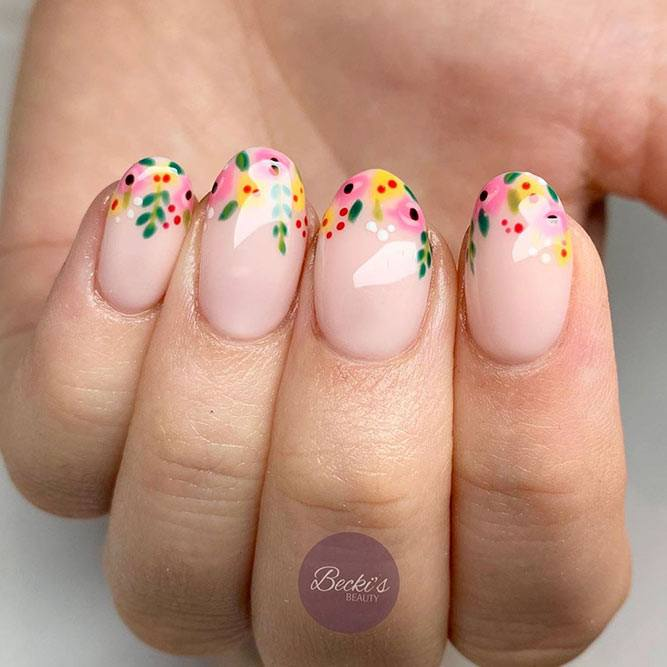 Floral French Tips For Short Nails  #flowersnailart #floralnailart