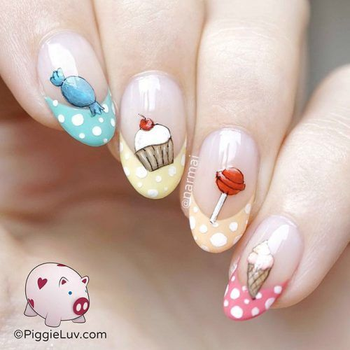 Sweet Nails Art #frenchnails #polkadotsnails