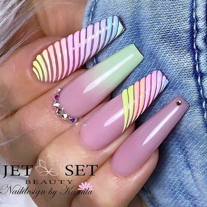 Spring Rainbow Nail Design #rainbow nails #coffinnails