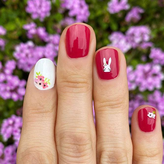 Spring Nails With Cute Bunny #bunnynails #rednails