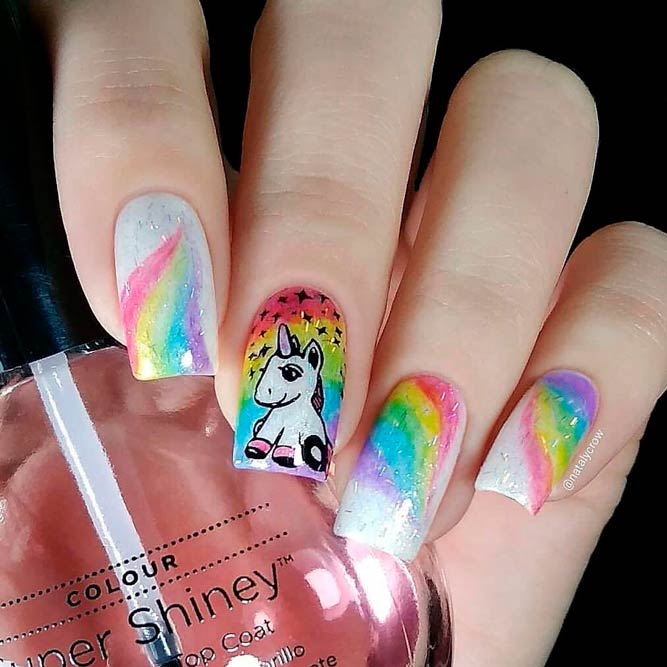 Unicorn Rainbow Nail Art #handpaintednails #rainbownails